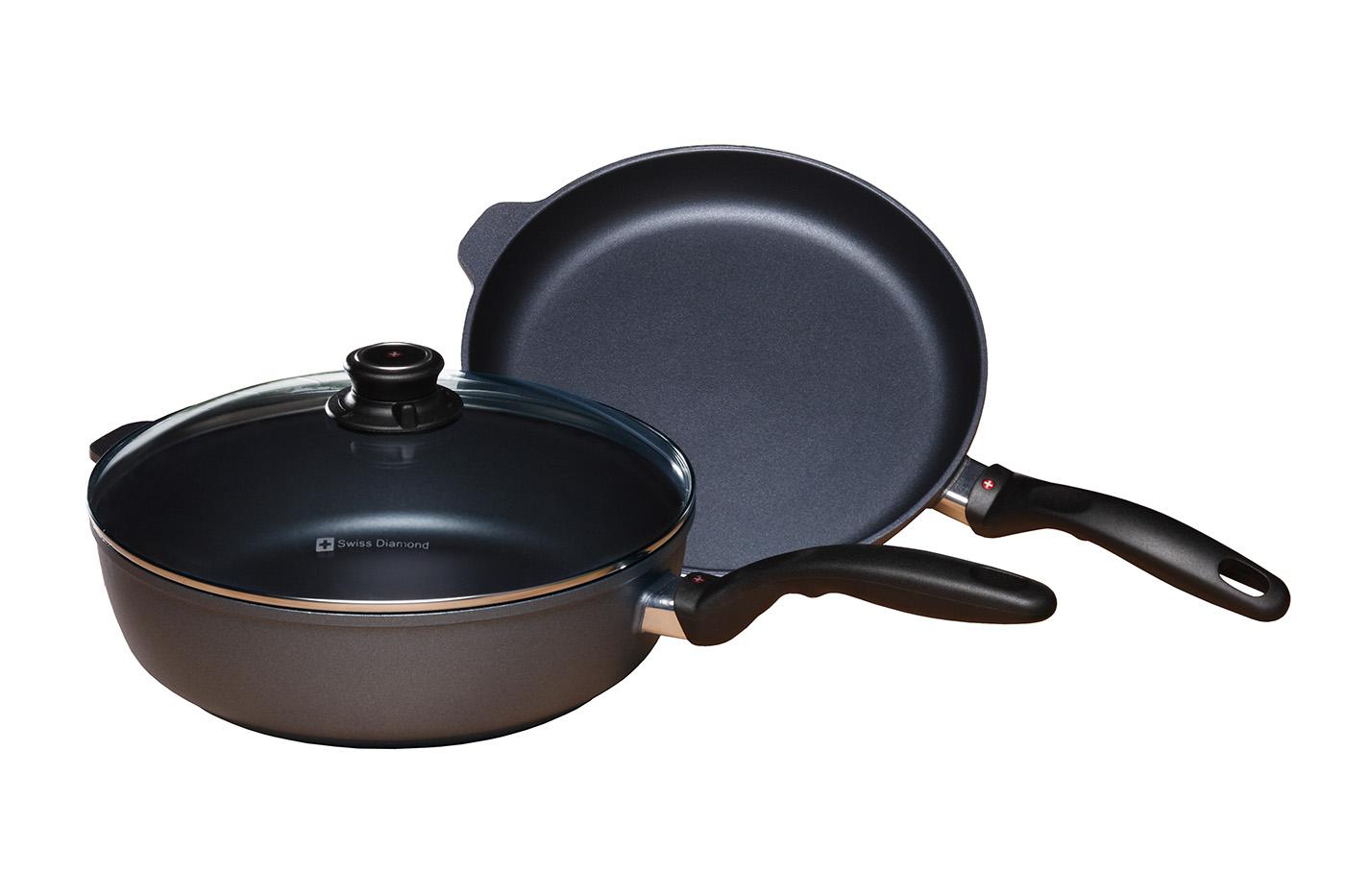Swiss Diamond 3 Piece Cookware Set - Fry Pan and Saute Pan